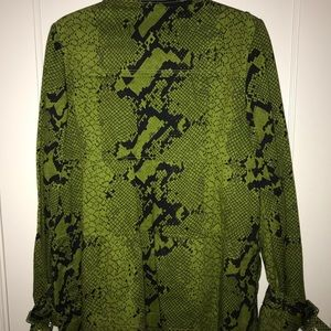 INC International Concepts Green Snakeskin Coat L
